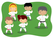 Kids Karate Lesson. Illustration of Kids Learning Karate Royalty Free Stock Image