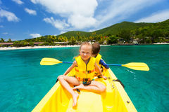 Kids in kayak Stock Photo