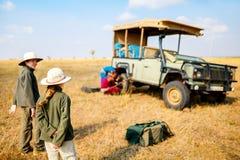 Kids on safari game drive stock photo