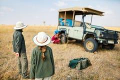 Kids on safari game drive stock photos