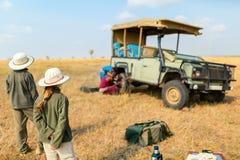 Kids on safari game drive royalty free stock images