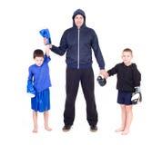 Kids Kickboxing Fight. Isolated on a white background. Studio shot stock photos