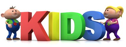 Kids with KIDS letters Stock Photo