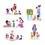 Kids in kindergarten. Fun children learning and playing in classroom with teacher. Cartoon vector characters set stock illustration