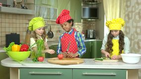 Kids in the kitchen. stock video