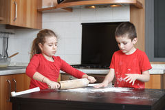 Kids in the kitchen royalty free stock image