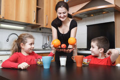 Kids in the kitchen Stock Images