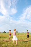 Kids with a kite Royalty Free Stock Photography