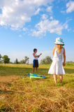 Kids with a kite Stock Image