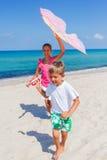 Kids with kite Royalty Free Stock Photos