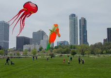 Kids and Kites. Kids observing large inflatable kites at the 2013 Gift of Wings Kite Festival held in Veterans Park in Milwaukee, Wisconsin on May 25th and 26th Royalty Free Stock Photo