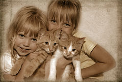 Kids And Kittens Royalty Free Stock Photo