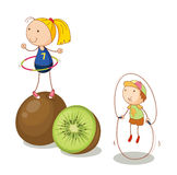 Kids and kiwifruits Stock Images