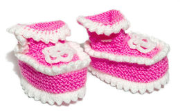 Kids knit baby's bootees Royalty Free Stock Photos