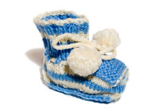 Kids knit baby's bootees Royalty Free Stock Photo