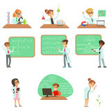 Kids In Lab Coats Doing Science Research Dreaming Of Becoming Professional Scientists In The Future Set Of Cartoon. Characters. Collection Of Smiling Children Royalty Free Stock Photos