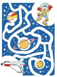 Kids labyrinth: The astronaut and his spaceship. Maze game for kids: Help the brave astronaut to find your lost spaceship Vector Illustration