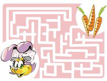 Kids labyrinth: Bunny and carrots. Maze game for kids: Help the Bunny to find her carrots Vector Illustration