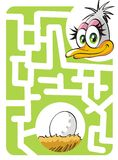 Kids labyrinth: mother ostrich and egg. Maze game for kids: Help the mother ostrich to find her nest and egg Royalty Free Illustration