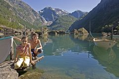Kids at lake in Norway Royalty Free Stock Photo