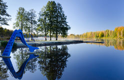 Kids lake pool in autumn colors Stock Photos