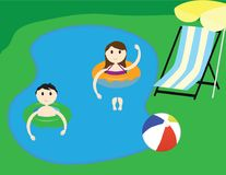 Kids in a lake. Summer vacation illustration. Summer holiday Vector illustration. boy and girl in a lake, green grass background, beach chair and yellow parasol Stock Photography