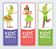 Kids land banners set, cute boys and girls in Christmas costumes of Elf and New Year tree flat vector elements for Stock Photo