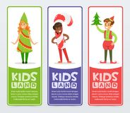 Kids land banners set, cute boys and girls in costumes for Christmas  flat vector elements for website or mobile app Royalty Free Stock Photos