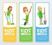 Kids land banners set, girls helping in organic gardening, taking care of nature Royalty Free Stock Photography