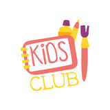 Kids Land Playground And Entertainment Club Colorful Promo Sign With Art Tools For The Playing Space For Children Stock Image