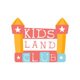 Kids Land Playground And Entertainment Club Colorful Promo Sign With Bouncing Castle For The Playing Space For Children Royalty Free Stock Photography