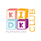 Kids Land Playground And Entertainment Club Colorful Promo Sign With Cubes Constructor For The Playing Space For Royalty Free Stock Photography