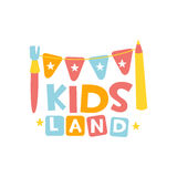 Kids Land Playground And Entertainment Club Colorful Promo Sign With Garland And Pencil For The Playing Space For Royalty Free Stock Photography