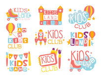 Kids Land Playground And Entertainment Club Set Of Colorful Promo Signs For The Playing Space For Children Stock Images