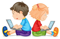 Kids with laptop Royalty Free Stock Photo