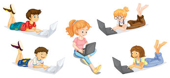 Kids with laptop Royalty Free Stock Photography