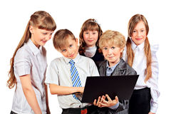 Kids with laptop Stock Image