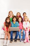 Kids in laptop with laptop Royalty Free Stock Photo