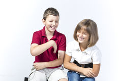 Kids are laughing happily Stock Photography