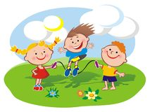 Kids on the lawn. Three kids playing jumping rope on the lawn. Eps file available Royalty Free Stock Photography