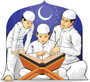 Kids Learn to Read Al-Quran with Their Parent Stock Photos