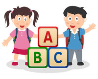 Kids Learning with ABC Blocks. Two cute school kids with schoolbags and ABC blocks. Useful for educational and learning purposes. Eps file available vector illustration