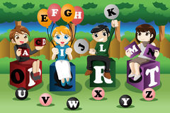 Kids learning alphabets Stock Images