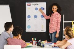 Kids learning English. Vocabulary in classroom Stock Photo