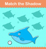 Kids learning game. Find the correct shark shadow Royalty Free Stock Photography