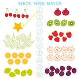 Kids learning number material 1 to 10 Trace Then match. Illustration of Education Counting Game for Preschool Children cherry stra. Wberry carambola kiwi apple stock illustration