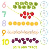 Kids learning number material 6 to 10 Trace Then match. Illustration of Education Counting Game for Preschool Children strawberry. Kiwi apple orange plum royalty free illustration