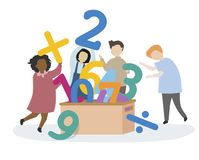 Kids learning numbers and mathematics Stock Illustration