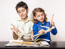 Kids learning paint class school Stock Photo