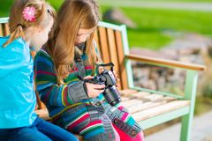 Kids Learning Photography Stock Photo